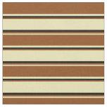 [ Thumbnail: Tan, Brown & Black Lined/Striped Pattern Fabric ]