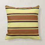 [ Thumbnail: Tan, Brown & Black Lined/Striped Pattern Pillow ]
