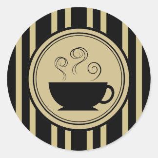 Tan Brown & Black Stripe Coffee Cup Sticker
