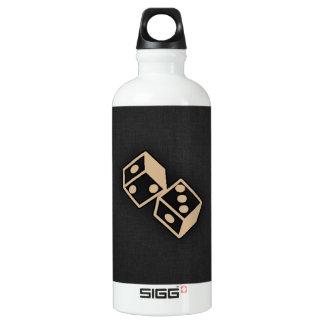 Tan Brown Dice Aluminum Water Bottle