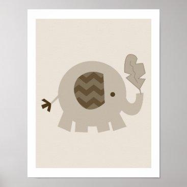 Art Themed Tan Brown Elephant Neutral Farmhouse Nursery Art Poster