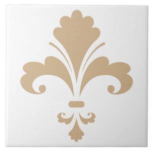 Tan Brown Fleur De Lis Ceramic Tile