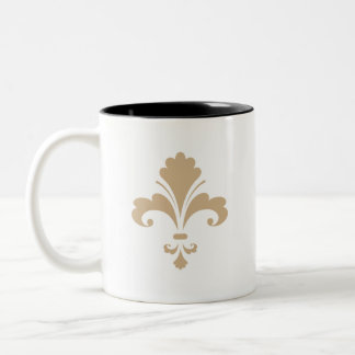 Tan Brown Fleur de lis Mug