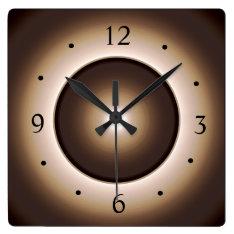 Tan/brown Illuminated Design>square Wall Clock at Zazzle
