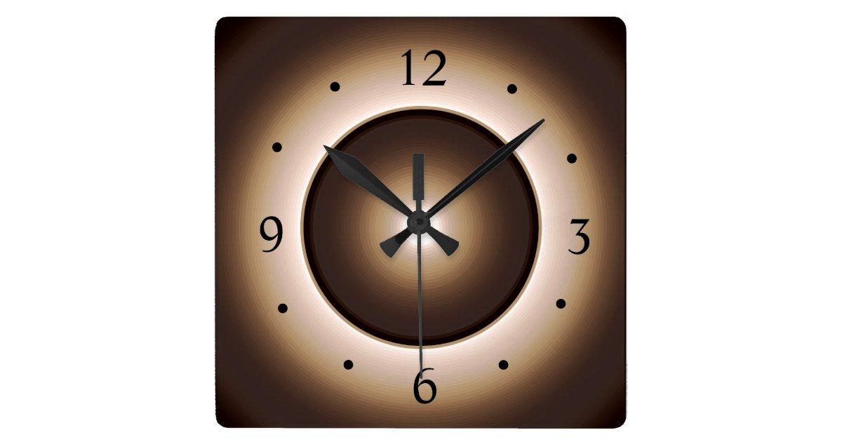 Canvas Wall Clock Design : Tan brown illuminated design gt square wall clock zazzle