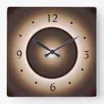 Tan/Brown Illuminated Effect Print Design&gt;Square W Square Wall Clock<br><div class='desc'>A Tan Brown edge with a ring design,  includes a moon effect at the centre.Available in square or round shapes. Numerals are in black,  Roman font. This is the artist&#39;s illuminated design on this  product.</div>