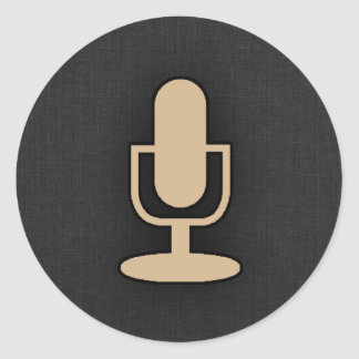 Tan Brown Microphone Classic Round Sticker