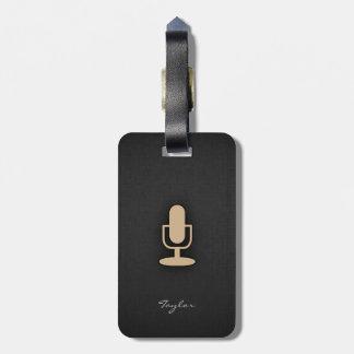 Tan Brown Microphone Luggage Tag