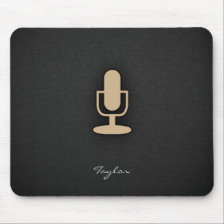 Tan Brown Microphone Mouse Pad