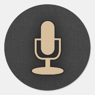 Tan Brown Microphone Round Sticker