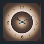 """Tan/Brown Moon Effect Printed Design Square Wall Clock<br><div class=""""desc"""">A Tan Brown edge with a ring design,  includes a moon effect at the centre.Available in square or round shapes. Numerals are in black,  Roman font.  Please Note > Designers Image has an illuminated effect only and is Not a Led product!</div>"""