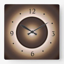 Tan/Brown Moon Effect Printed Design Square Wall Clock