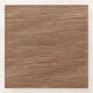 Tan Brown Natural Oak Wood Grain Look Glass Coaster