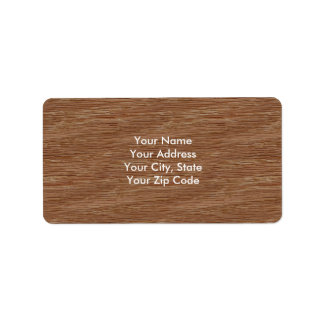 Tan Brown Natural Oak Wood Grain Look Label