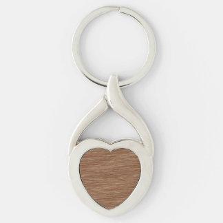 Tan Brown Natural Oak Wood Grain Look Silver-Colored Heart-Shaped Metal Keychain