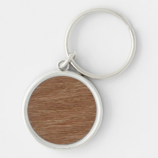 Tan Brown Natural Oak Wood Grain Look Silver-Colored Round Keychain