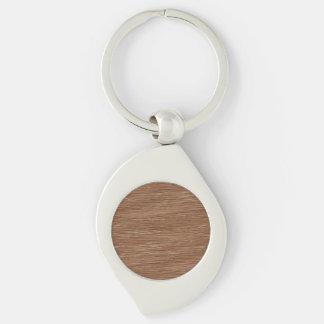 Tan Brown Natural Oak Wood Grain Look Silver-Colored Swirl Metal Keychain
