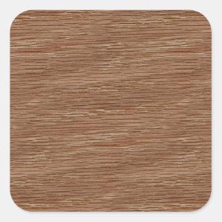 Tan Brown Natural Oak Wood Grain Look Square Sticker