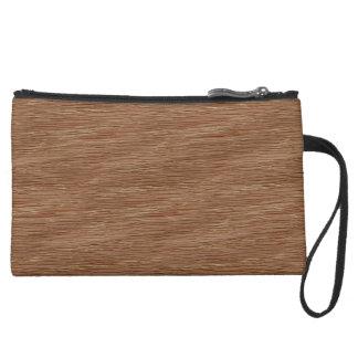 Tan Brown Natural Oak Wood Grain Look Suede Wristlet