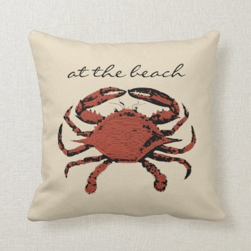 Beach Themed Tan Brown | Nautical Crab Fun Beach Throw Pillows