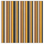 [ Thumbnail: Tan, Brown, Orange, and Black Stripes Fabric ]