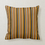 [ Thumbnail: Tan, Brown, Orange, and Black Stripes Throw Pillow ]