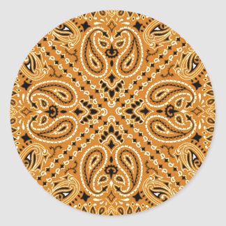 Tan Brown Paisley Western Bandana Scarf Print Classic Round Sticker