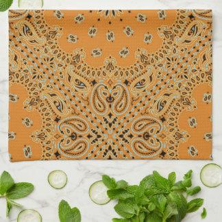 Tan Brown Paisley Western Bandana Scarf Print Towel