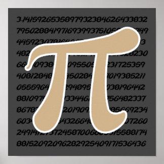 Tan Brown Pi symbol Poster