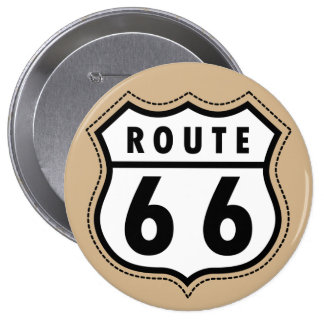 Tan Brown Route 66 road sign 4 Inch Round Button
