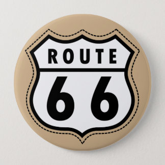 Tan Brown Route 66 road sign Button