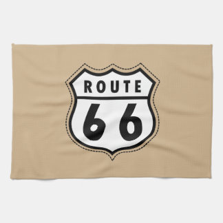 Tan Brown Route 66 road sign Kitchen Towel