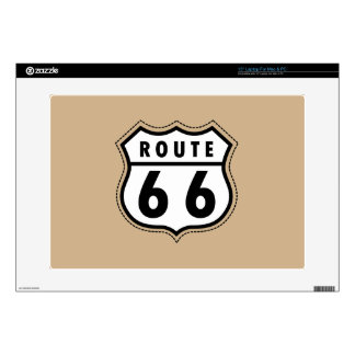 Tan Brown Route 66 road sign Laptop Skins