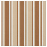 [ Thumbnail: Tan, Brown & White Colored Striped/Lined Pattern Fabric ]