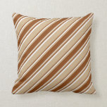 [ Thumbnail: Tan, Brown & White Colored Striped/Lined Pattern Throw Pillow ]