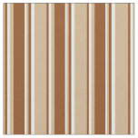 [ Thumbnail: Tan, Brown & White Lines/Stripes Pattern Fabric ]