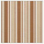 [ Thumbnail: Tan, Brown & White Lines/Stripes Pattern Fabric ]