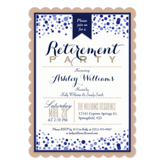 Tan Brown, White, Navy Blue Retirement Party Card