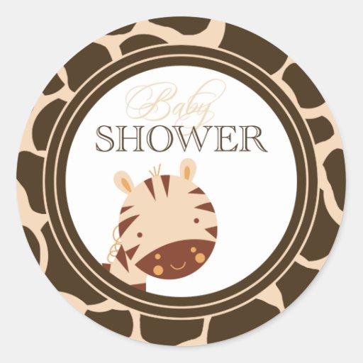 Tan + brown zebra boys baby shower stickers