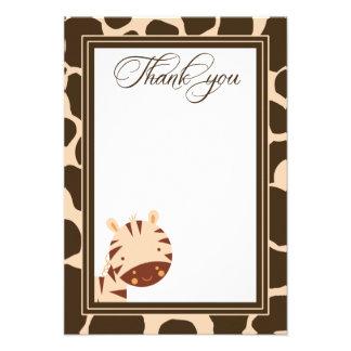 Tan + brown zebra boys thank you flat card personalized invitation