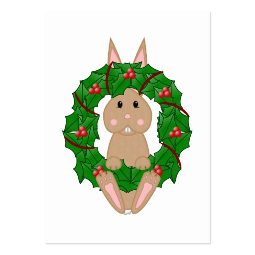 Tan Bunny And Christmas Wreath Large Business Cards (Pack Of 100)