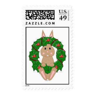 Tan Bunny And Christmas Wreath Postage