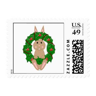 Tan Bunny And Christmas Wreath Postage Stamps