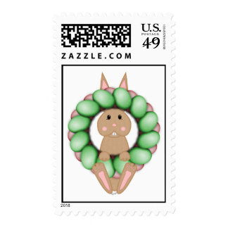 Tan Bunny And Colorful Easter Wreath Postage Stamp