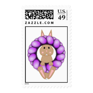 Tan Bunny And Purple Easter Wreath Postage Stamps