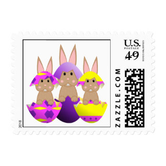 Tan Bunny Easter Eggs Stamp