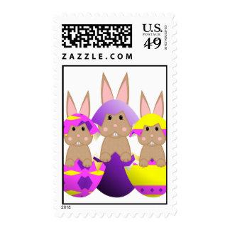 Tan Bunny Easter Eggs Postage