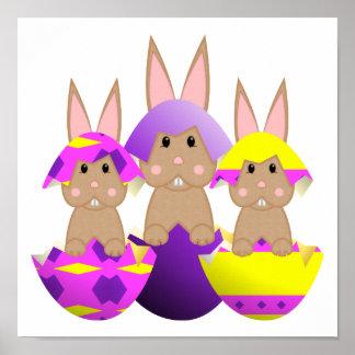 Tan Bunny Easter Eggs Poster