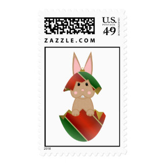 Tan Bunny In A Christmas Ornament Stamps
