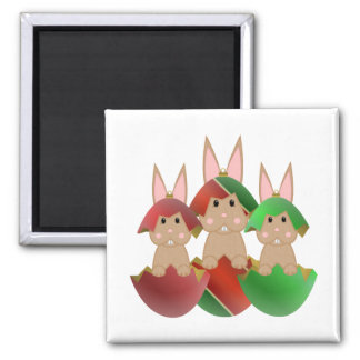 Tan Bunny In A Christmas Ornaments 2 Inch Square Magnet